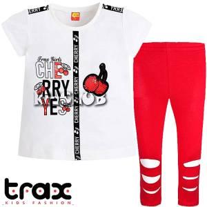 Σετ μπλούζα και κολάν κορίτσι με τύπωμα Κεράσια TRAX