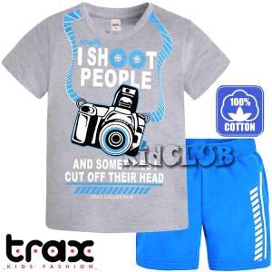 34504816133 Σετ μπλούζα με κοντό παντελόνι αγόρι με τύπωμα shoot TRAX