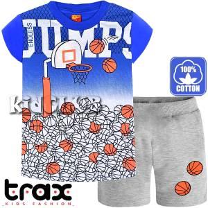 Σετ μπλούζα με κοντό παντελόνι αγόρι με τύπωμα Μπάλες TRAX