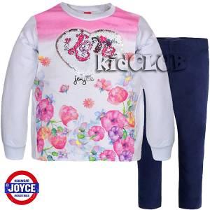 Σετ μακρυμάνικη μπλούζα και κολάν flowers κορίτσι Joyce
