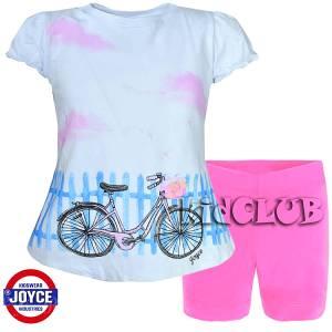 Σετ μπλούζα και κολάν κορίτσι με τύπωμα ποδήλατο Joyce