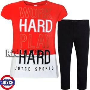 Σετ μπλούζα και κολάν κορίτσι με τύπωμα hard Joyce