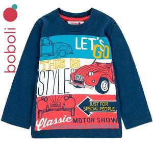 Μπλούζα μακρυμάνικη αγορίστικη με τύπωμα Style Boboli