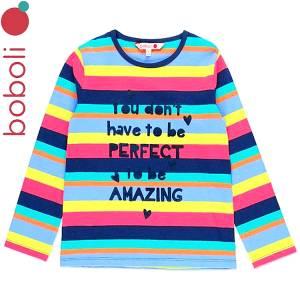 Μπλούζα μακρυμάνικη κοριτσίστικη με τύπωμα ριγε Boboli