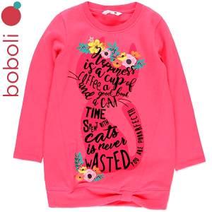 Φόρεμα φούτερ με τύπωμα Welcome κοριτσίστικο Boboli