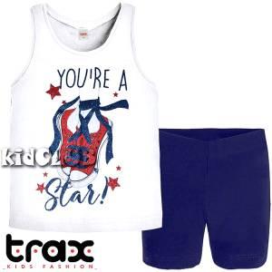 Σετ μπλούζα και κολάν κοντό κορίτσι σταμπωτό Star Trax