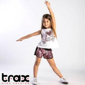 Σετ μπλούζα και παντελόνι κοντό κορίτσι σταμπωτό με πούλιες Trax