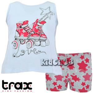 Σετ μπλούζα και παντελόνι κοντό κορίτσι σταμπωτό Πατίνια Trax