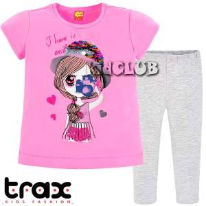 Σετ μπλούζα και κολάν κορίτσι σταμπωτό με πούλιες Trax