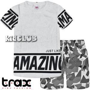 Σετ μπλούζα με βερμούδα παντελόνι αγόρι με στάμπα Like Trax