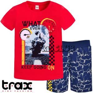 Σετ μπλούζα με βερμούδα παντελόνι αγόρι με στάμπα Going on Trax