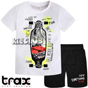 Σετ μπλούζα με βερμούδα παντελόνι αγόρι με στάμπα Fun Trax