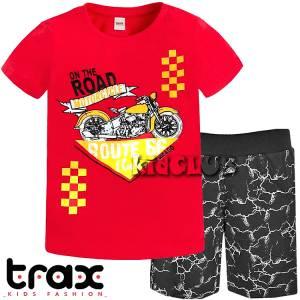 Σετ μπλούζα με βερμούδα παντελόνι αγόρι με στάμπα Rout 66 Trax