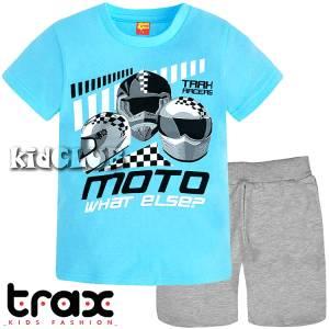 Σετ μπλούζα με βερμούδα παντελόνι αγόρι με στάμπα Racers on Trax