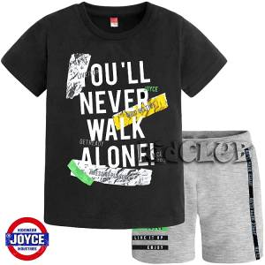 Σετ μπλούζα με βερμούδα παντελόνι αγόρι με στάμπα Walk Joyce