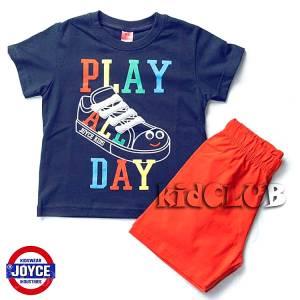 Σετ μπλούζα με βερμούδα παντελόνι αγόρι με στάμπα Shoe Joyce
