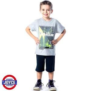 Σετ μπλούζα με βερμούδα παντελόνι αγόρι με στάμπα One Joyce