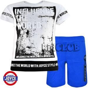 Σετ μπλούζα με βερμούδα παντελόνι αγόρι με στάμπα World Joyce