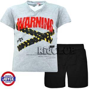Σετ μπλούζα με βερμούδα παντελόνι αγόρι με στάμπα Caution Joyce