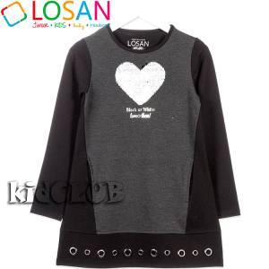 Φόρεμα συνδυασμένο Καρδιά για κορίτσι Losan