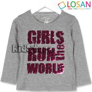 Μπλούζα μακρυμάνικη με πούλιες Girls για κορίτσι Losan