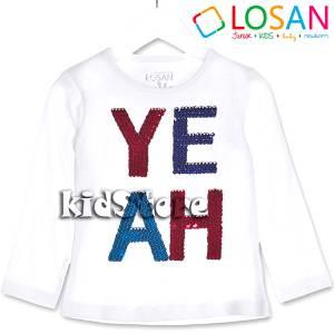 Μπλούζα μακρυμάνικη με πούλιες Yeah για κορίτσι Losan