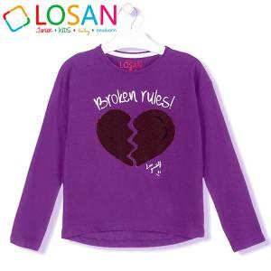 Μπλούζα μακρυμάνικη κοριτσίστικη με τύπωμα Heart Losan