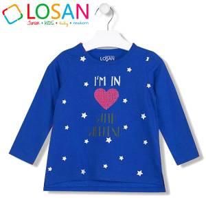 Μπλούζα μακρυμάνικη κοριτσίστικη με τύπωμα αστέρια Losan