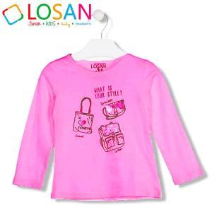 Μπλούζα μακρυμάνικη κοριτσίστικη με τύπωμα Fashion Losan