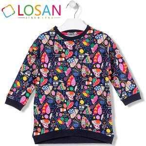 Φόρεμα φούτερ με τύπωμα καρδιές κοριτσίστικο Losan