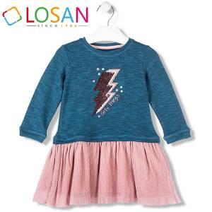 Φόρεμα πλισέ και φούτερ κοριτσίστικο Losan