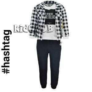 Σύνολο 3 τεμάχια  πουκάμισο,μπλούζα και παντελόνι φούτερ  Hashtag