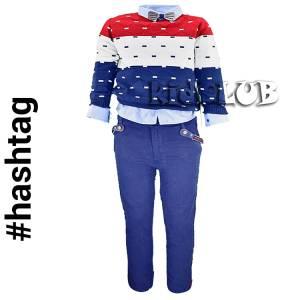 Σύνολο 3 τεμάχια  πουλόβερ,πουκάμισο  και παντελόνι πεντάτσεπο Hashtag