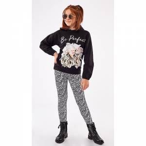Φόρμα φούτερ με κολάν κοριτσίστικη με τύπωμα animal print EBITA Fashion