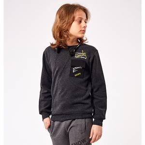 Μπλούζα φούτερ αγορίστικη με στάμπα και τσέπη Hashtag
