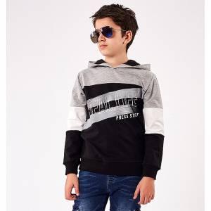 Μπλούζα φούτερ αγορίστικη με στάμπα Real Hashtag