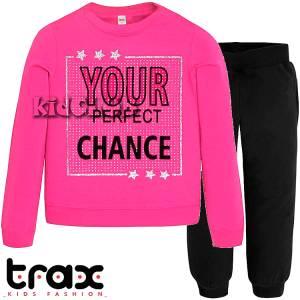 Φόρμα φούτερ κοριτσίστικη με τύπωμα Perfect TRAX