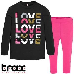 Φόρμα φούτερ με κολάν κοριτσίστικη με τύπωμα love TRAX