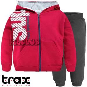 Φόρμα φούτερ αγορίστικη με ζακέτα σταμπωτή TRAX